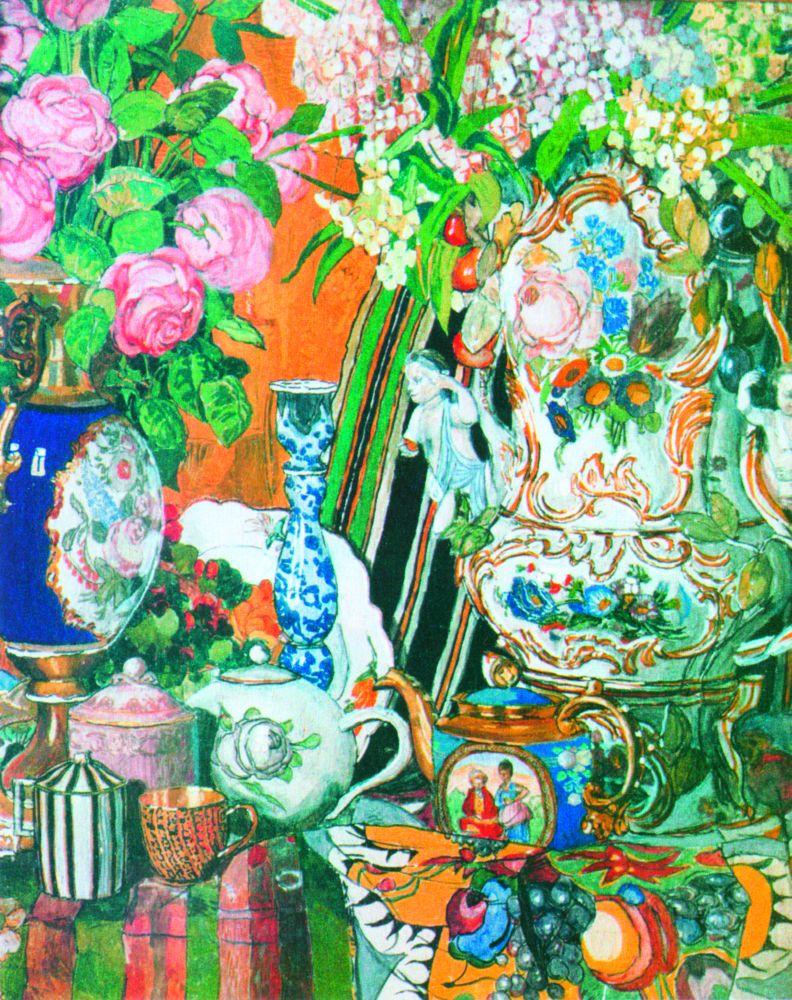 А.Головин. Фарфор ицветы. 1915. Д., темпера. 86×73см. Государственная Третьяковская галерея