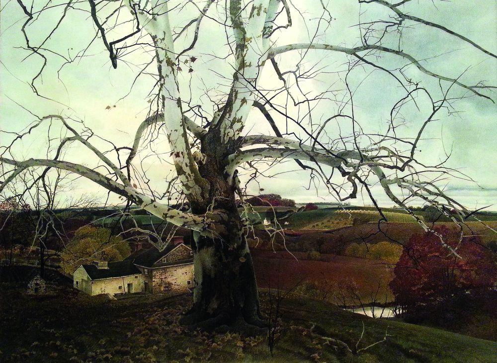 Э.Уайет. Пенсильванский пейзаж. 1941. Доска, темпера. Brandywine River Museum of Art (наследие Хелен Йоркес)