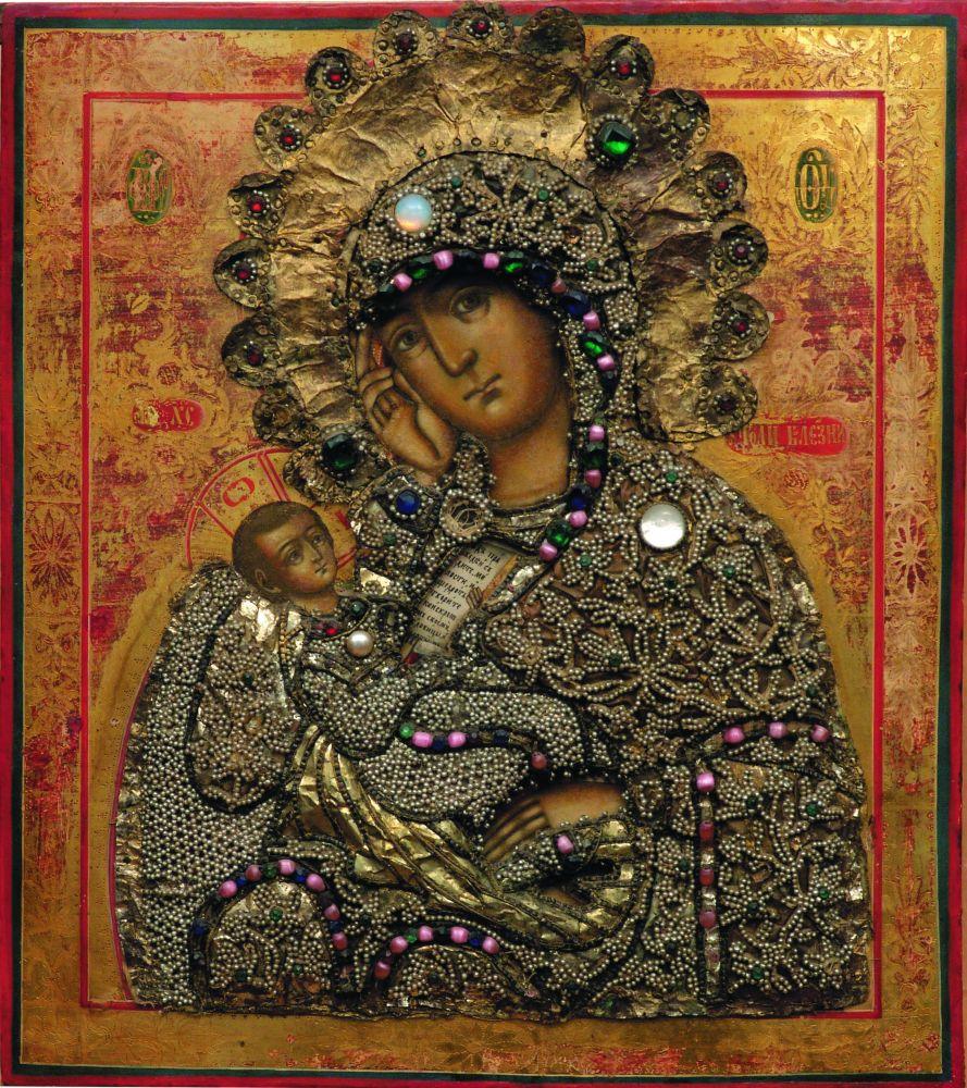 Липованская икона «Утоли болезни» в жемчужной ризе. XVIIIв.
