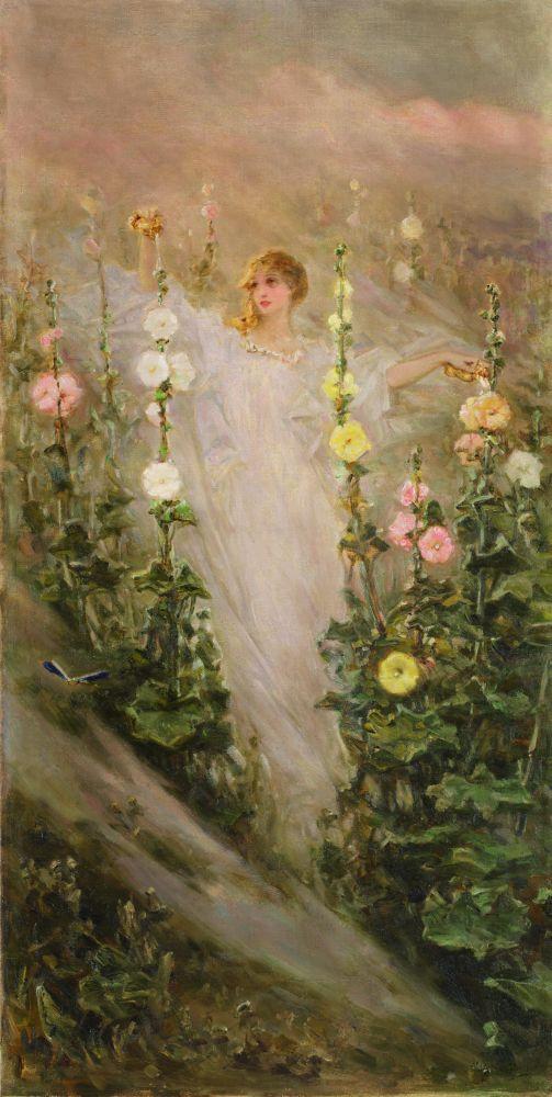 В.Котарбинский. Девушка среди мальв (Фея цветов). Х., м. 128×64см