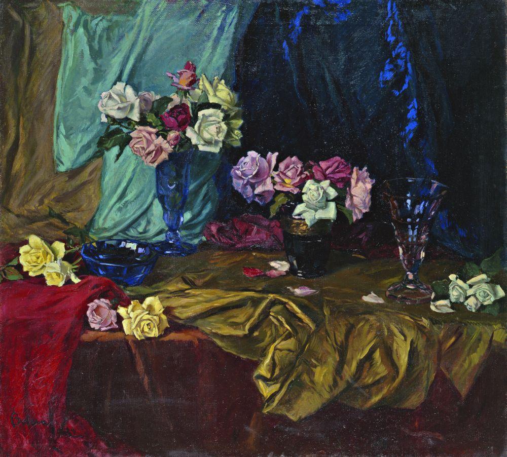 И.Бокшай. Натюрморт срозами. 1932. Х., м. 100,2×110,6см