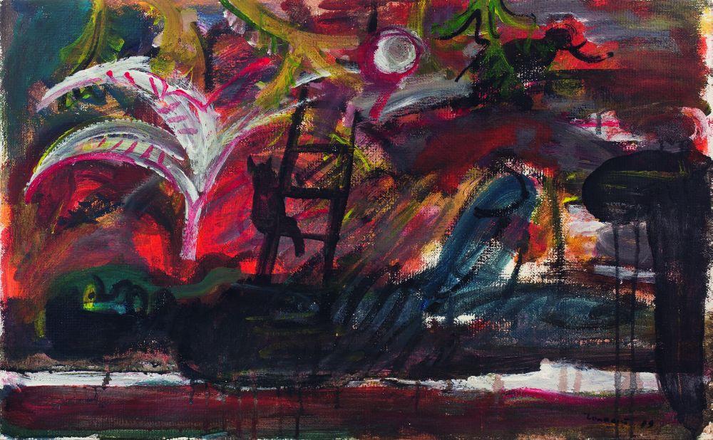 О.Голосий. Монолог. 1989. Картон, смешанная техника. 50×79,5см