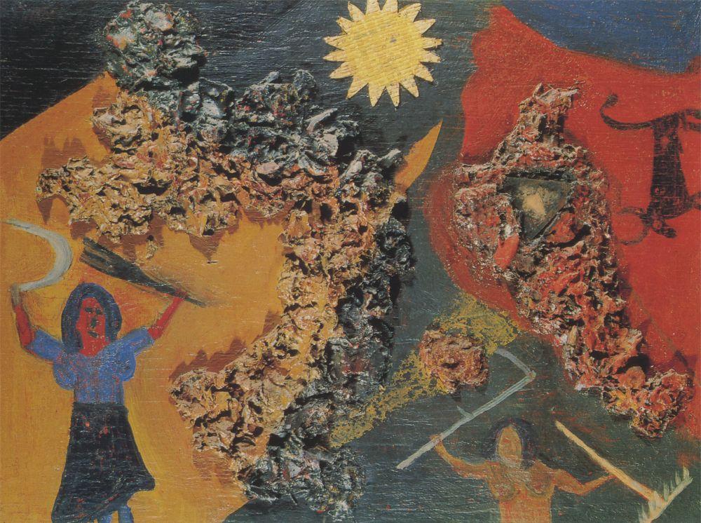 Д.Бурлюк. Жатва. 1915. Х., стекло, каменная масса. 35×49 см