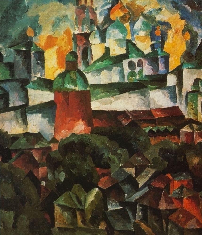 А.Лентулов. Пейзаж сЛаврой. 1920. Х., м. 88×76см