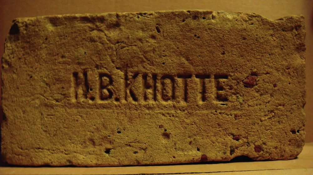 Кирпич склеймом «И.В.Кнотте». Завод Ивана Вильгельмовича Кнотте находился вс. Халепье Киевской губ.