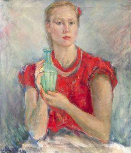Л.Морозова. Автопортрет вкрасной блузке. 1956. Х., м.