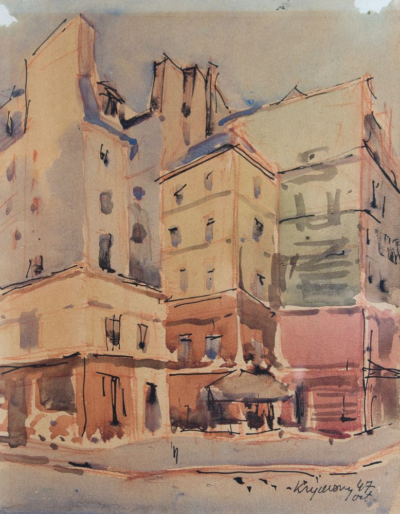 Н.Кричевский. Улица вПариже. 1947. Б., акварель