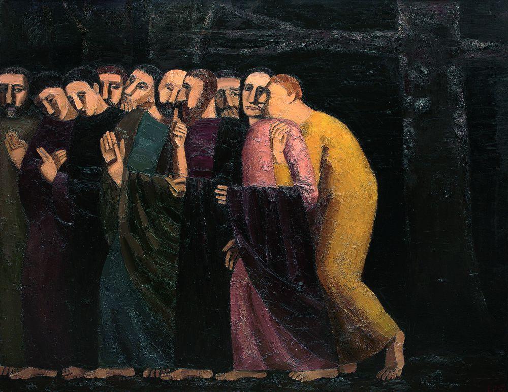Е.Рыжих. Поцелуй Иуды. 1990. Х., м. 140×180см