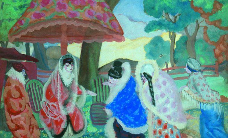 Б.Григорьев. Поздравление новобрачных. Картон, гуашь. 55×66,2см. КНМРИ (из коллекции Д. Л. Сигалова)