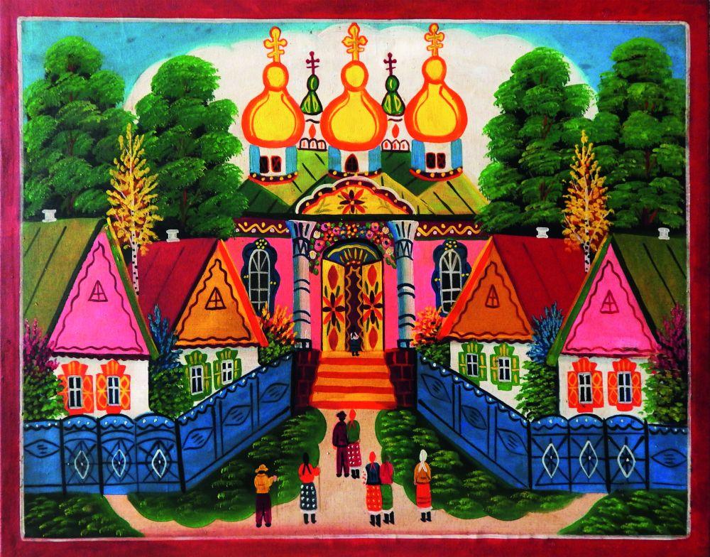 Народная картина «В церковь». Центр. Украина, 1-я пол. ХХ в. Х., м. 60,5×80см