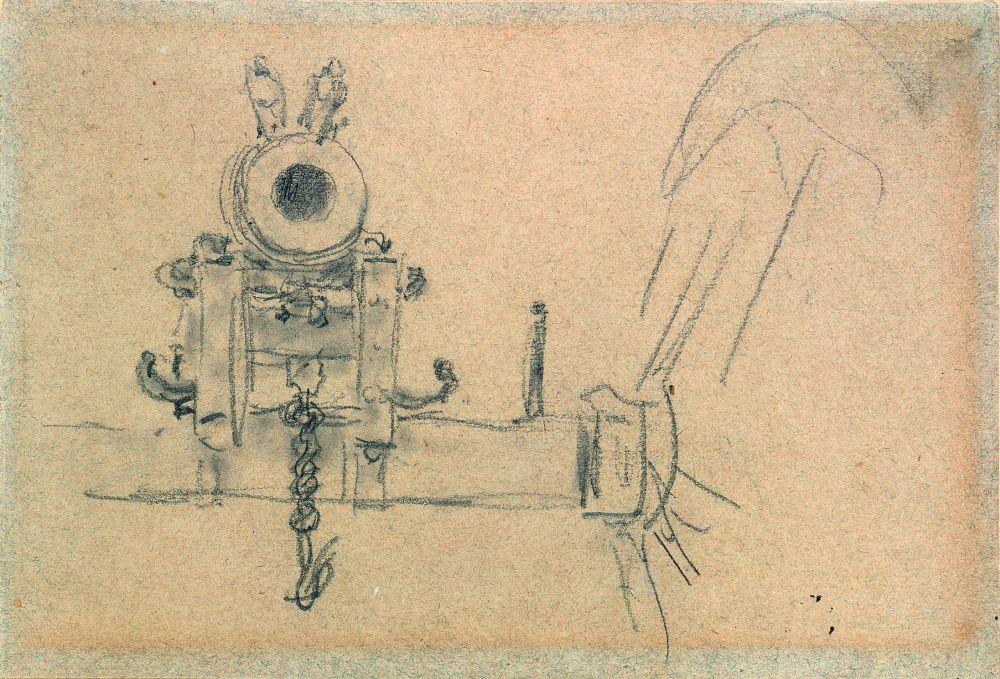 И.Репин. Запорожская пушка (фрагмент). Набросок. 1880. Бумага, графитный карандаш. КНМРИ