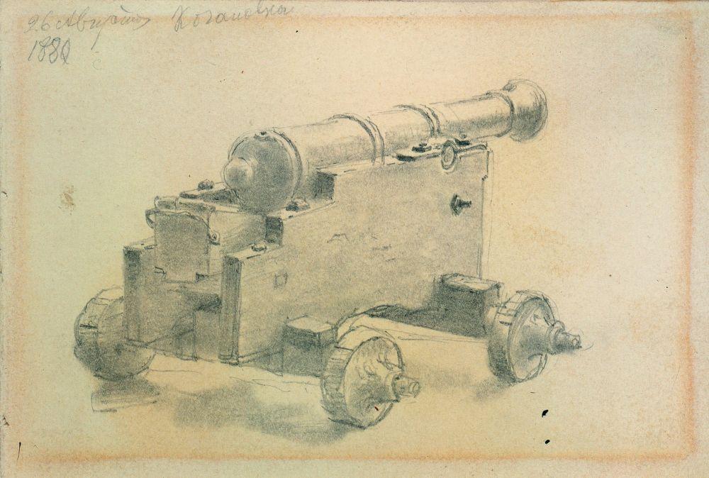 И.Репин. Запорожская пушка. 1880. Бумага, графитный карандаш. КНМРИ