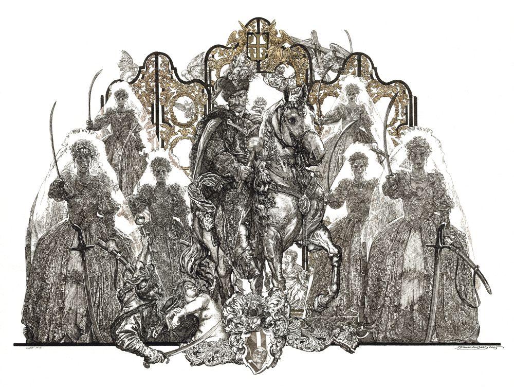 С.Якутович. Невесты (из серии «Запорожцы»). 2005. Б., тушь, золото. 42×59см