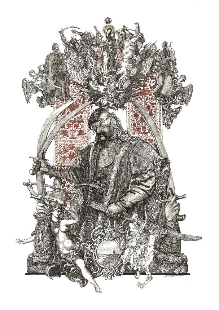 С.Якутович. Покрова (из серии «Запорожцы»). 2005. Б., тушь, золото. 59×42см