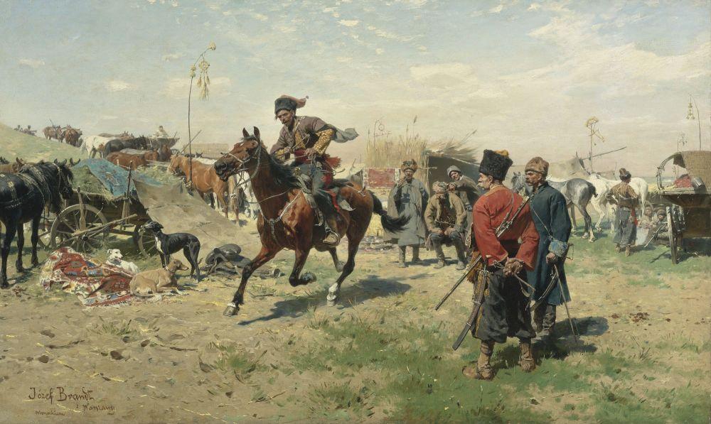 ЮзефБрандт. Запорожцы. 1893. Х., м. 74,9×123,1см. Частное собрание