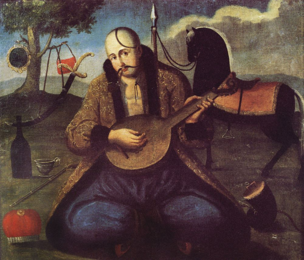 Казак-бандурист. Нач. XIXв. Х., м. 113×104см. Национальный художественный музей Украины