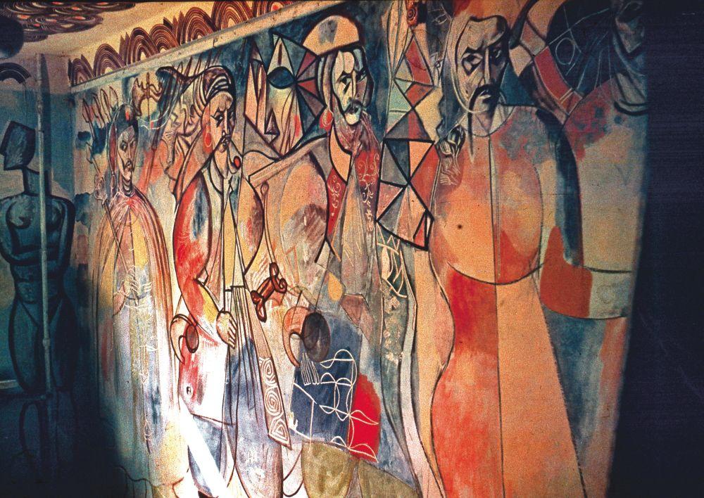 Н.Трегуб. Гайдамаки. Настенная роспись вквартире художника, сохранившаяся лишь нафотографии