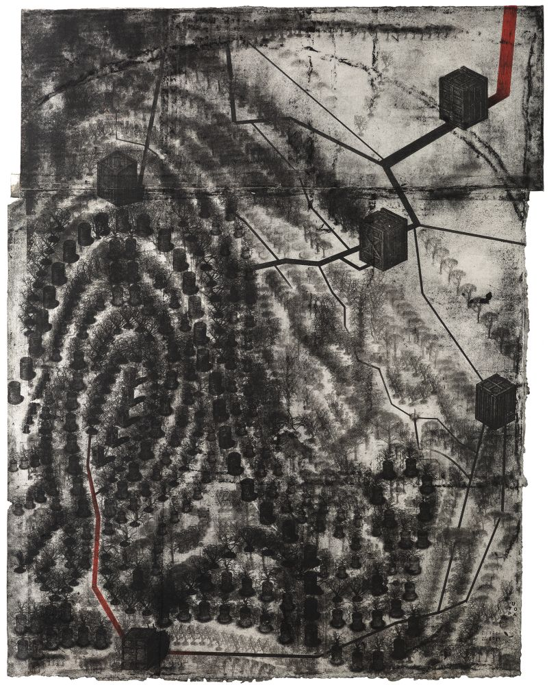 Прикосновение №2. 2013–2014. Рисунок, многоразовое интаглио, акрил, бумага. 118×91см