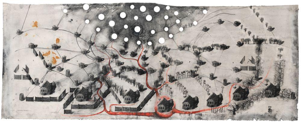 Paradiso Perduto №1. 2012–2013. Рисунок, многоразовое интаглио, акрил, бумага. 63×161см