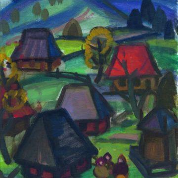 А.Коцка. Верховинское село. 1970‑е гг. Х., м. 62,5×49,5см