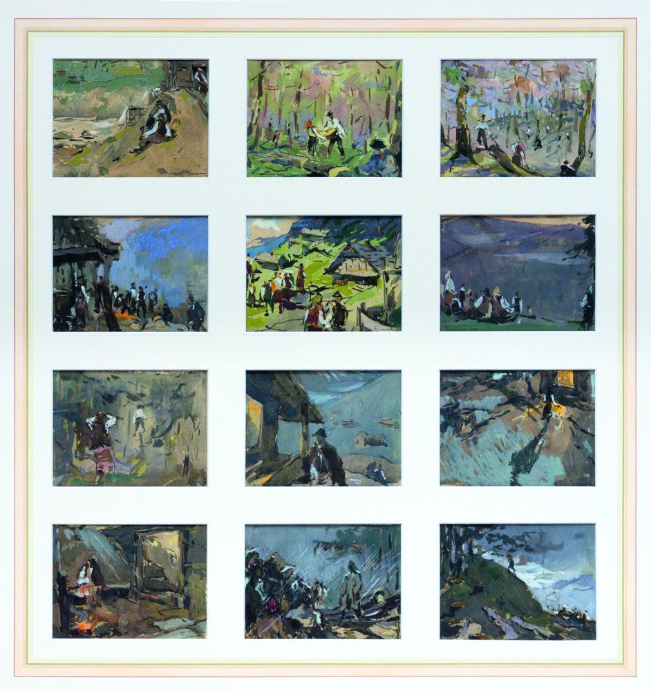 И.Бокшай. 12 зарисовок «Карпатская жизнь». 1947. Б., акварель, гуашь. 9,5×12,5см