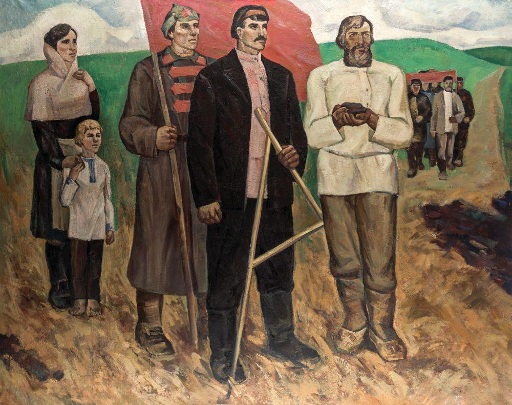 ГригорийТишкевич. Земля—крестьянам. 1970. Х., м. 130,5×165см. Эст. $1000–2000