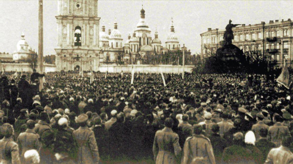 Українська маніфестація на Софійській площі у Києві. 19 березня (1 квітня) 1917 р.