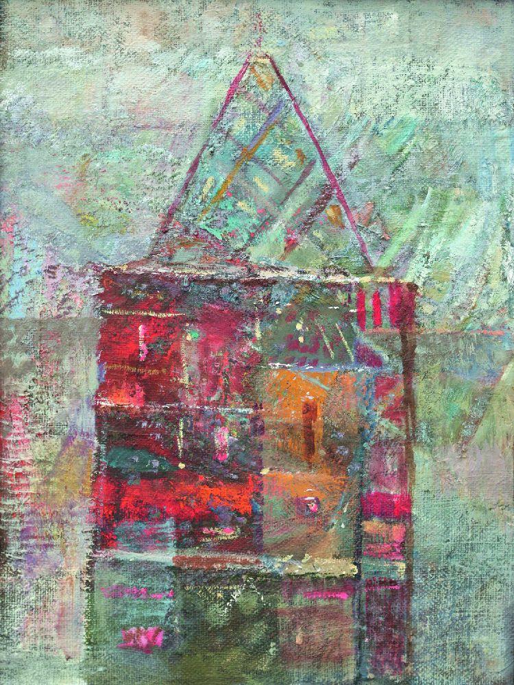 Красный дом. 2017. Х., м. 60×40см