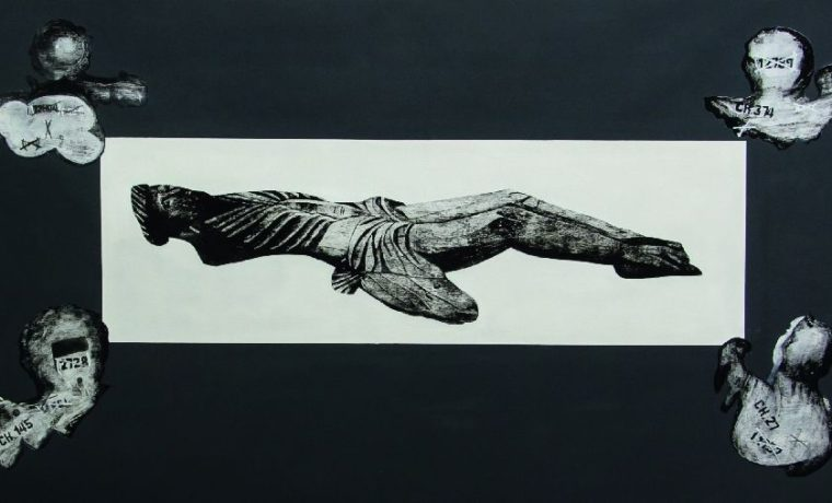 А.Ялоза. Плащаница (изсерии «Поту сторону»). 2014. Холст, смешанная техника. 100×195см