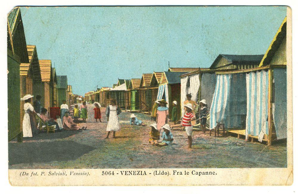 Венеция (Лидо). Среди кабинок. Почтовая открытка начала ХХ в. Изколлекции О.Сидора-Гибелинды