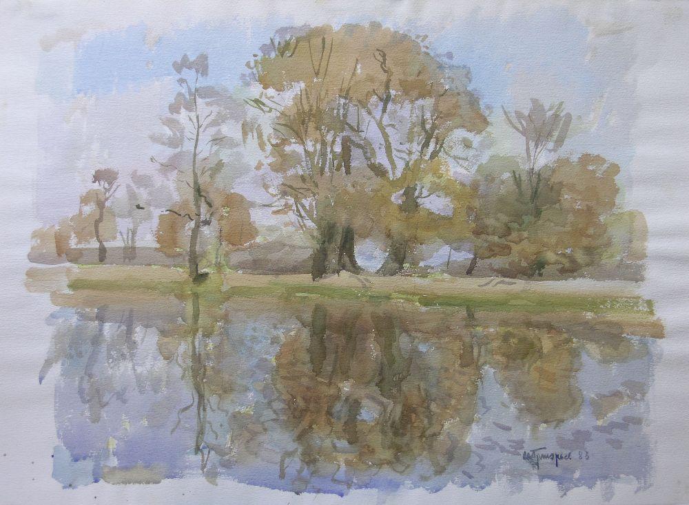 С.Григорьев. Начало осени. 1983. Б., акв. 40×50см