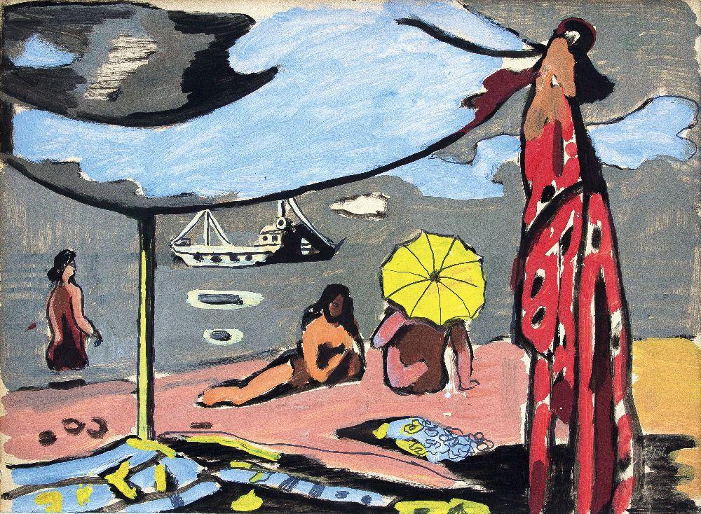 Р.Сельский. Пляж. 1960‑е гг. Б., гуашь. 32×43см. Частное собрание