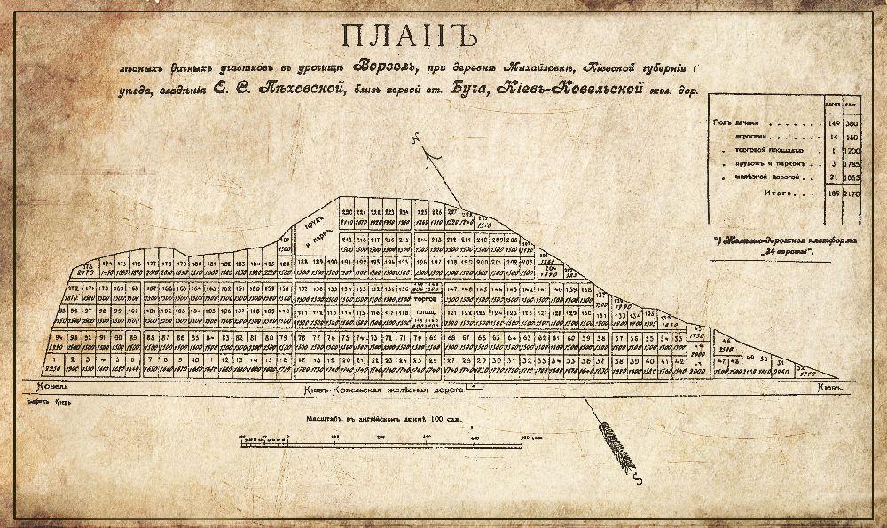 План правой стороны дачного посёлка Ворзель. 1900‑е гг.