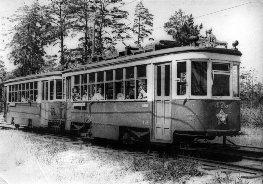 Пуща-Водица. Лесная трасса трамвая №12. Фото 1952г.