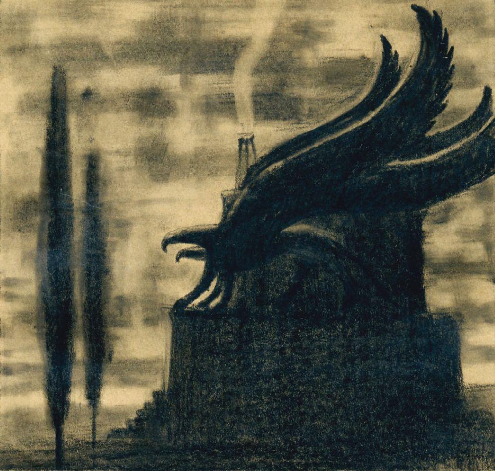 Reqviem. 1918. Бумага, карандаш. 12,6×13,2см