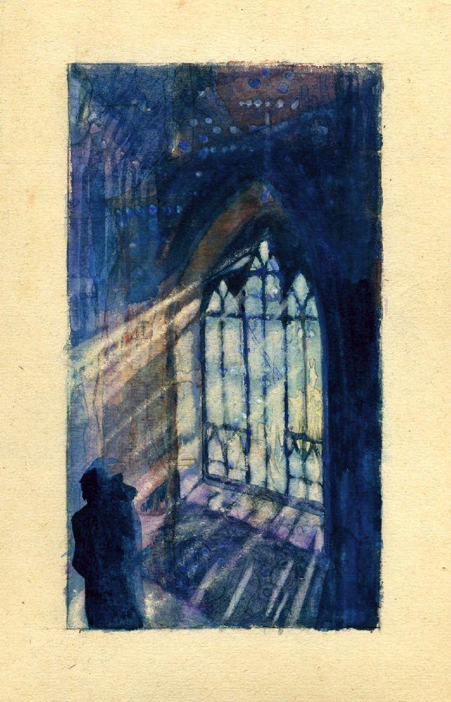 Композиция 30. 1922. Бумага, акварель. 17,7×10см