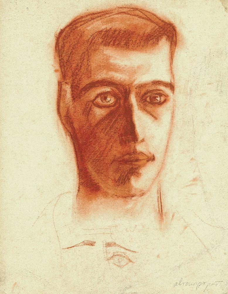 Автопортрет. 1920. Бумага, сангина. 27×23см