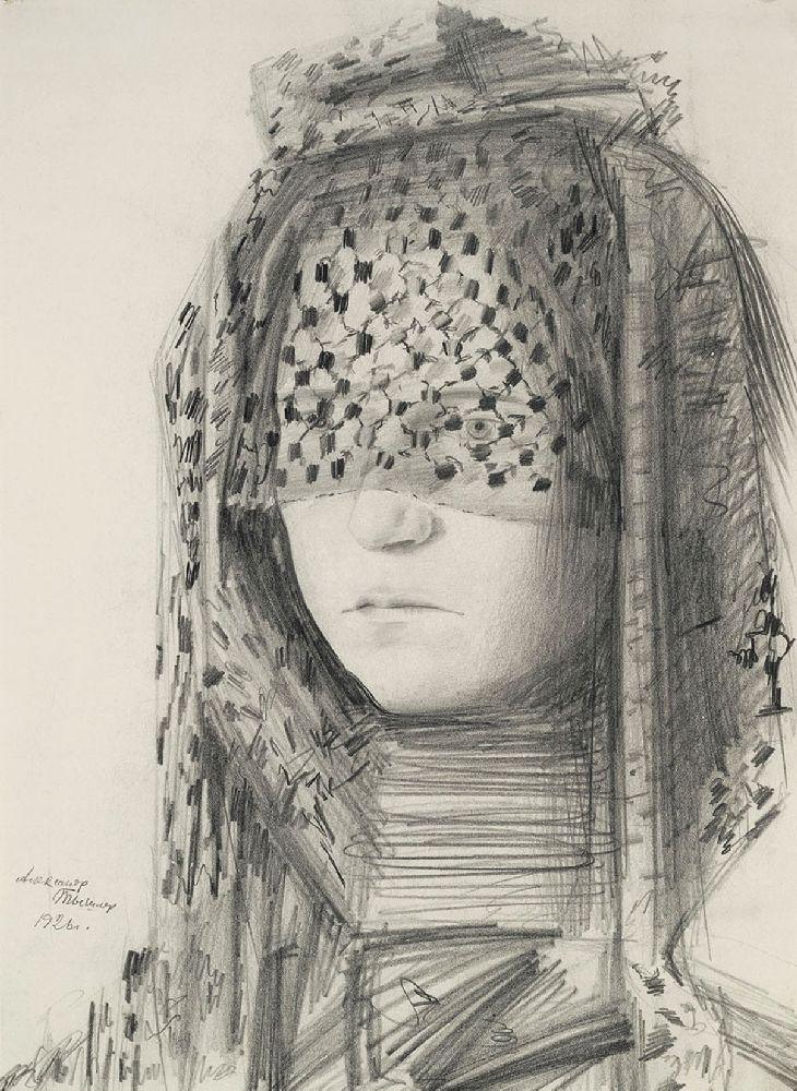 Портрет жены (А.С.Тышлер). 1926. Б., граф. кар. 39,9×28,9см. ГТГ