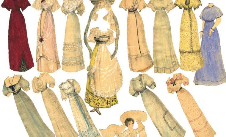Наряды для бумажных кукол, сделанные Ниной Пискорской