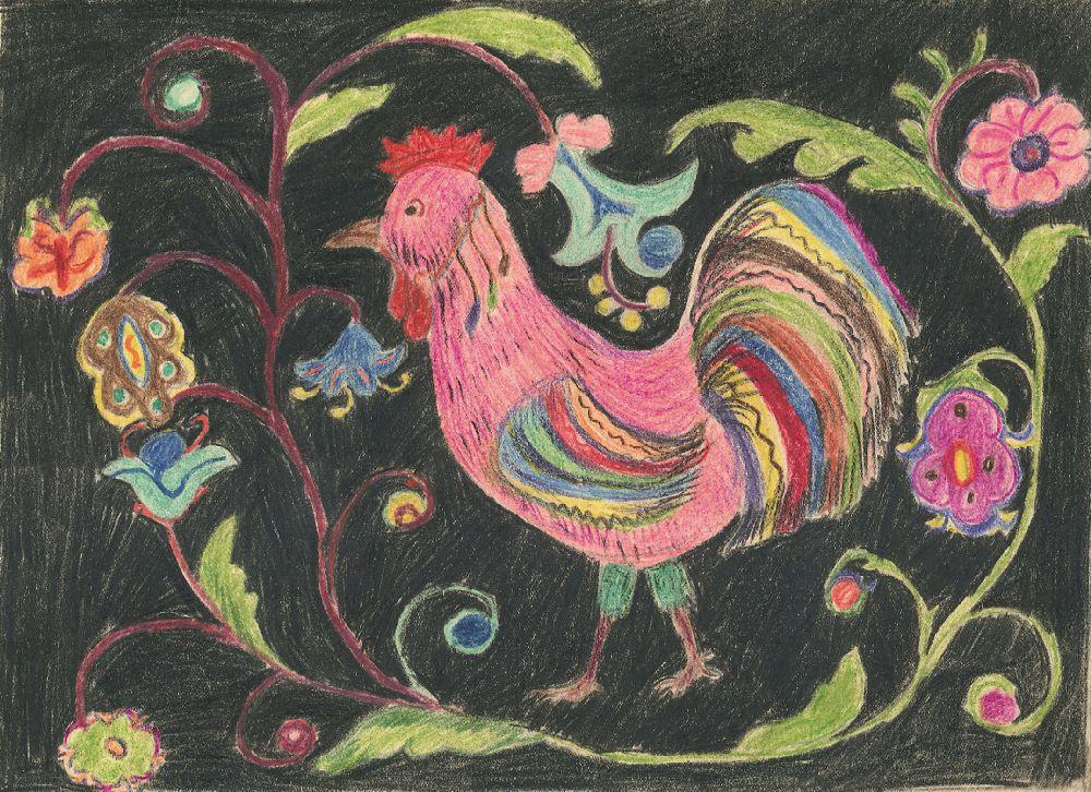 Рисунок школьницы Лены Новиковой (демонстрировался наМеждународной выставке детского творчества вИндии)