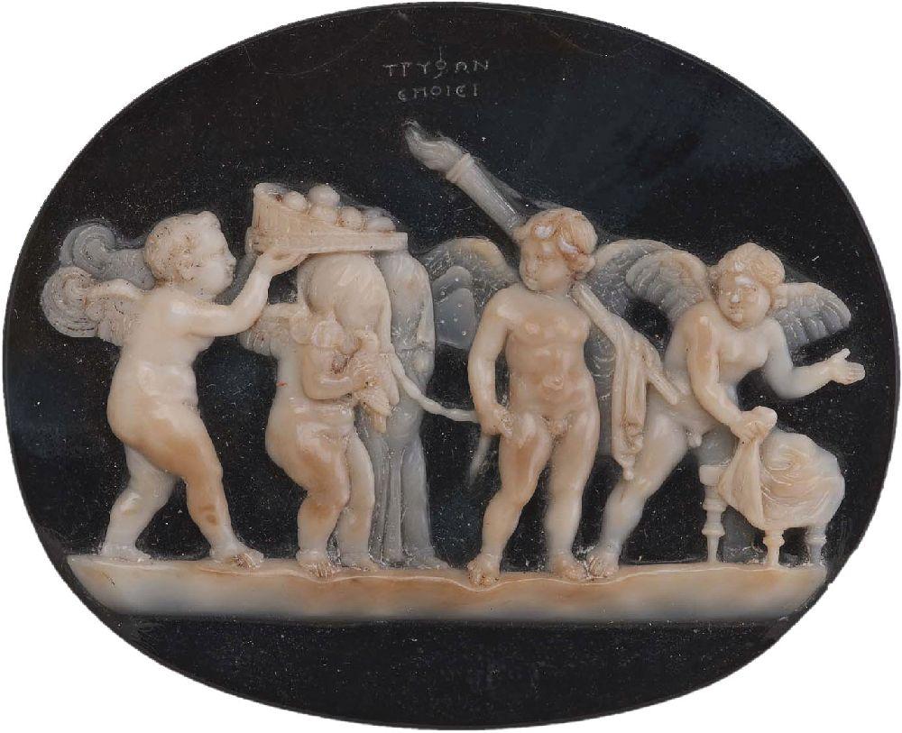 Камея «Свадьба Амура иПсихеи». 50–25гг. дон. э.; мастер Трифон. Музей изящных искусств, Бостон