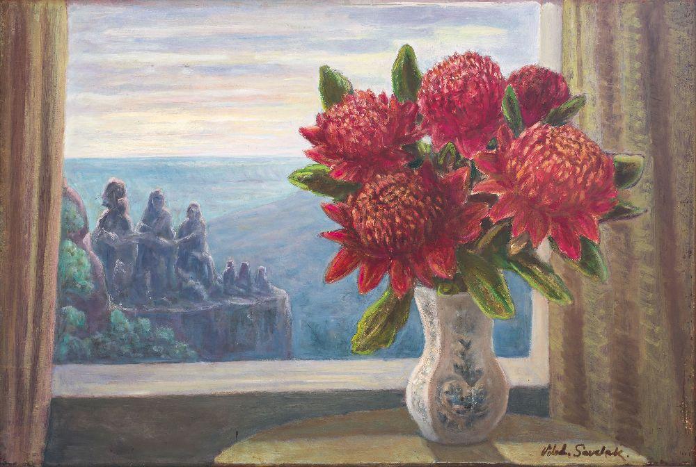 Квіти варата длядвох сестер. ДВП, олія. 55×85см