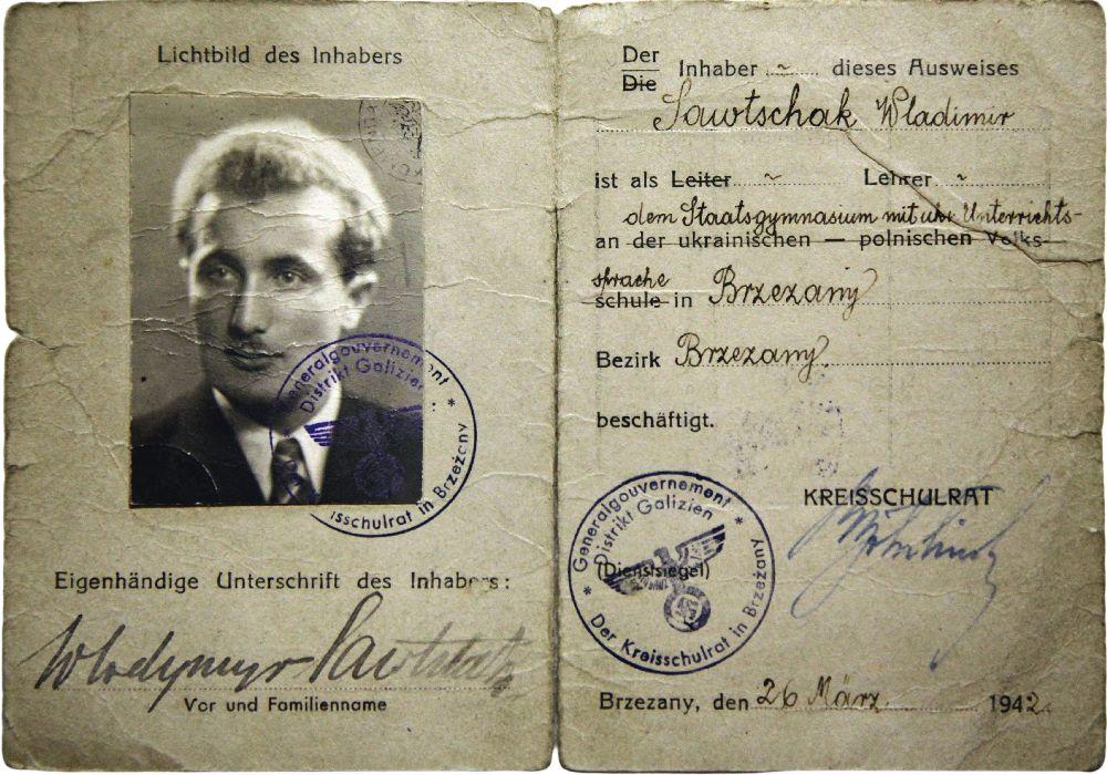 Паспорт Володимира Савчака, виданий 26 березня 1942 року вБережанах