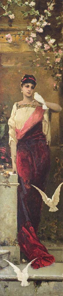 Женщина сголубями. Х., м. 212×47 см