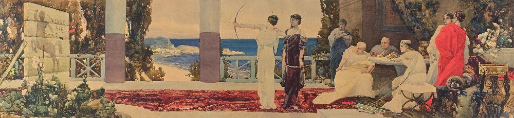 Стрельба излука. 1895. Б., акв. 49×202 см