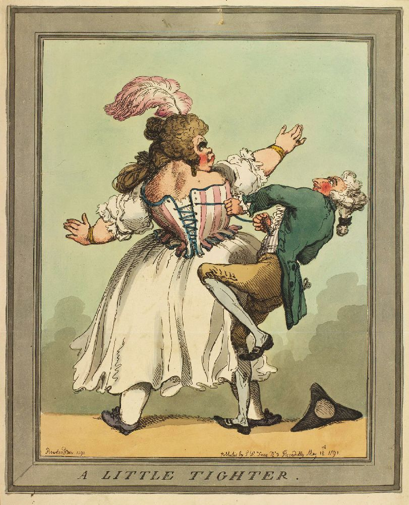 Немножко потуже. Карикатура Томаса Роулендсона. 1791