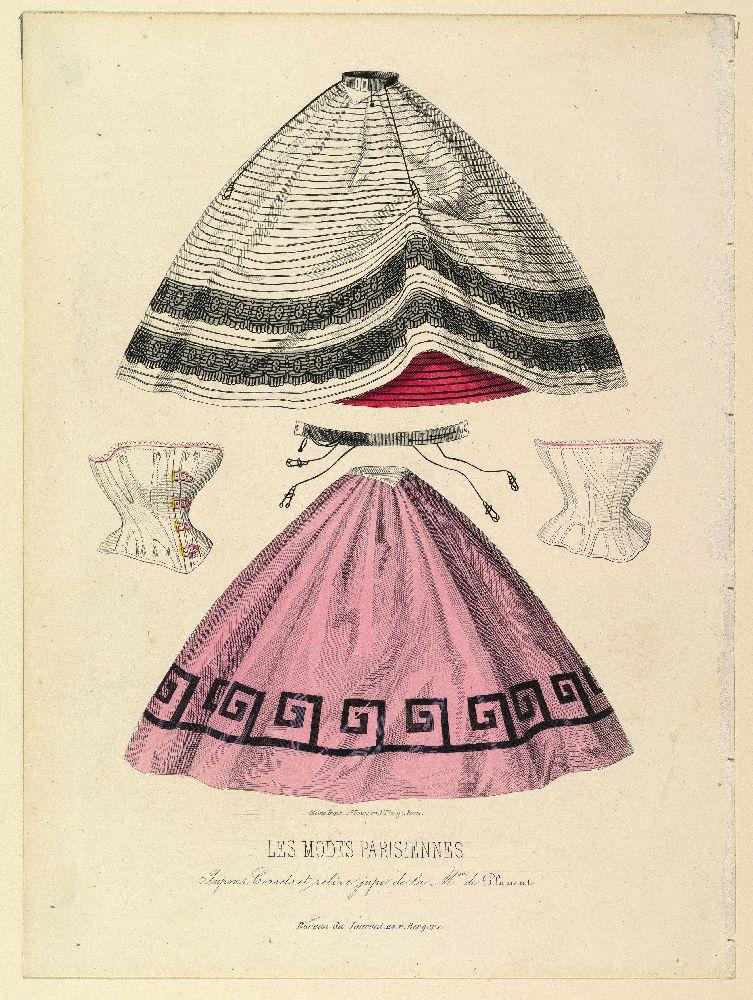 Корсеты, нижние юбки и пояс с пажами от«Maison de Plument». Иллюстрация изжурнала «Les Modes Parisiennes»