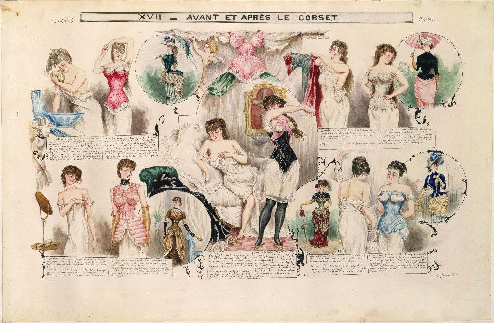 Доипосле корсета. Рисунок Анри де Монто вжурнале «La Vie Parisienne», 1882