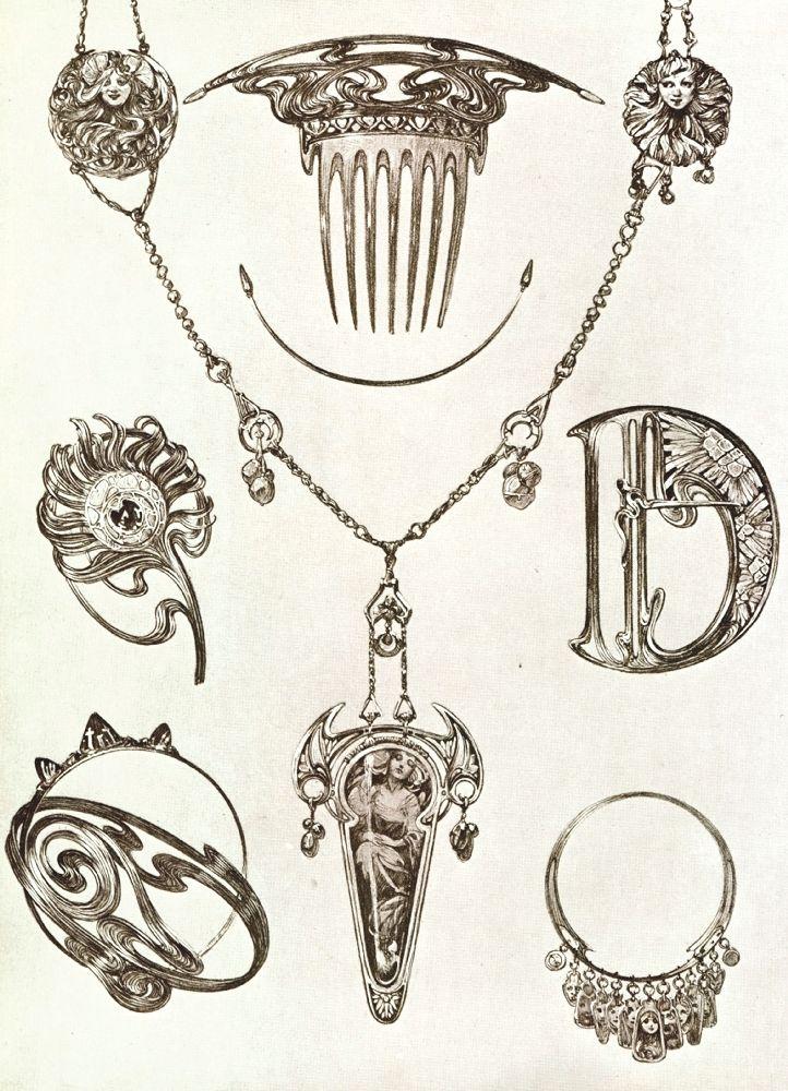 А.Муха. Эскизы изделий длямастерской Ж.Фуке. 1902