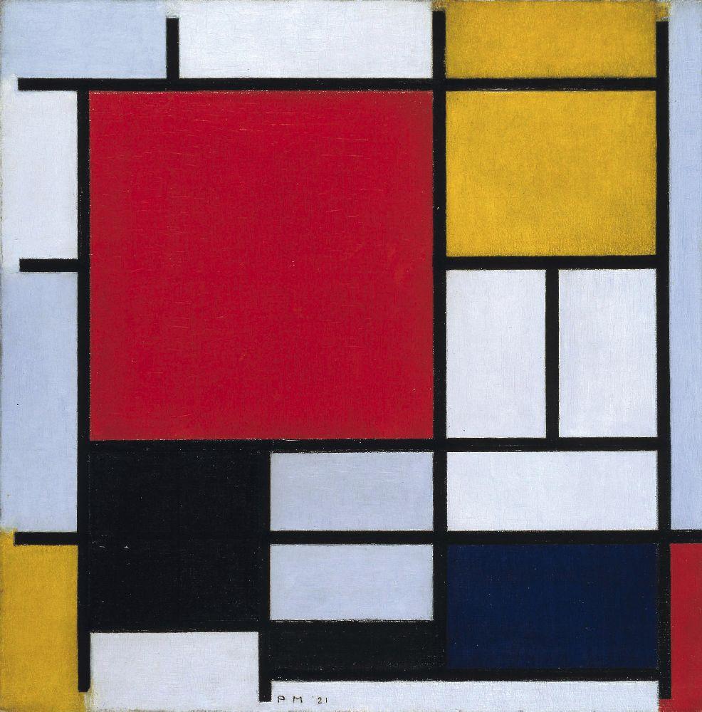 П.Мондриан. Композиция сбольшим красным полем, жёлтым, чёрным, серым исиним. 1921